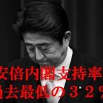 【続落】安倍内閣支持率32%:不支持49%「川内再稼働に反対57%」毎日新聞世論調査(8月8、9日)