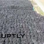 【日本のマスコミが報じない福島】ロシアメディアがドローンで空撮した汚染土壌の一時保管地区(福島県富岡町)が地獄過ぎる