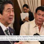 【(゚Д゚)ハァ?】安倍総理が「フィリピンにミサイルを提供する」と提案⇒ドゥテルテ大統領が「第三次世界大戦は見たくない」と拒否