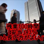 【絶句】残業100時間「妥当」43%「もっと長い方がよい」11%(日経調査)