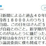 """【逃げ勝ち】過去40年間の18歳以下自殺者18000人のうち131人が9月1日に自殺。内田樹さん「18歳までは""""学校のようなところ""""に時々ご縁があれば、それで十分だと僕は思います。」"""